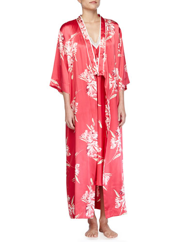 Spanish Lilly Floral-Print Long Robe & Gown
