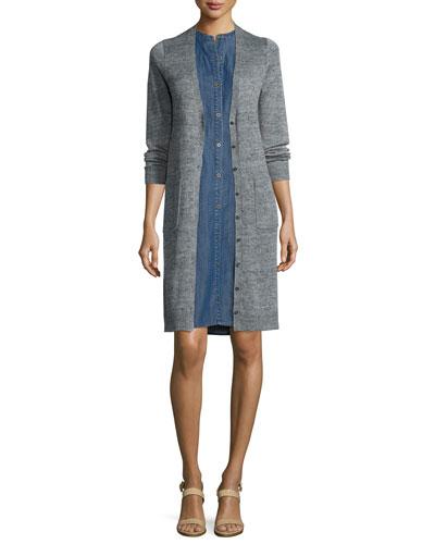 Rustic Linen Long Cardigan & Sleeveless Button-Front Denim Dress