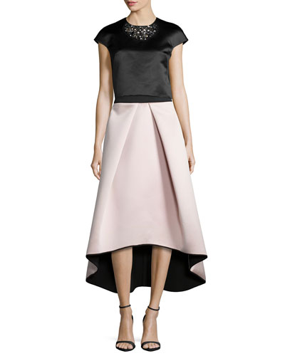 Short-Sleeve Beaded Crop Top & High-Low Satin Ball Skirt