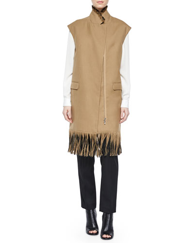 Classic Silk Shirt, Long Wool Vest with Fringe & Wool Pencil Trousers