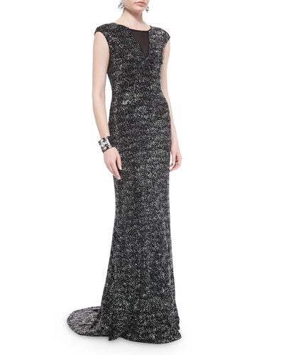 Refined Sparkle Knit Sequined Gown & Jewelry
