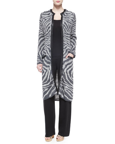 Animal-Print Sweater Coat & High-Waist Straight-Leg Pants