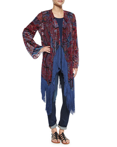 Burnout Fringe-Trim Kimono & Scoop-Neck Tank