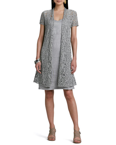 Rustic Luster Long Lacy Cardigan & Twinkle Linen Slip-Dress, Petite