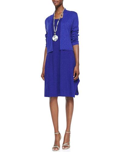 3/4-Sleeve Slub Cropped Cardigan & Organic Cotton/Hemp Twist Sleeveless Dress, Petite
