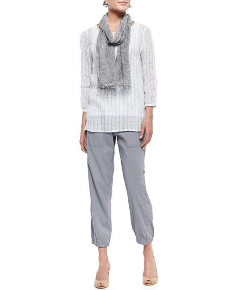 Eileen FisherCargo Linen-Blend Ankle Pants, Pewter