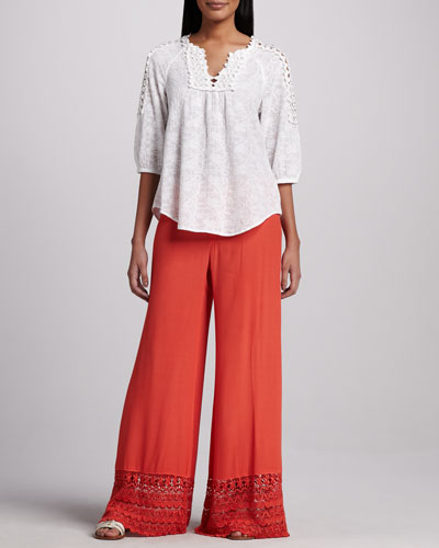 Capitola Embroidered Voile Tunic & Noe Valley Crepe Pants, Women