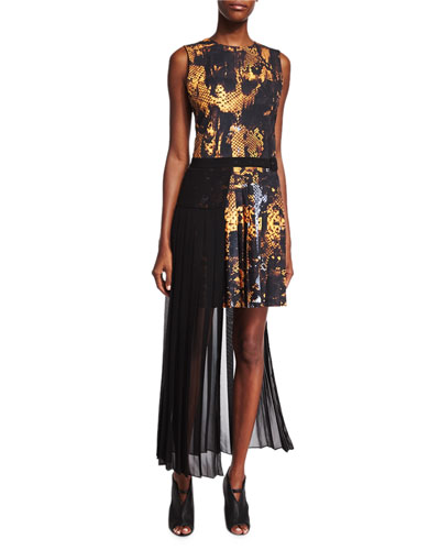 Pleated Snake-Print Dress & Long Apron
