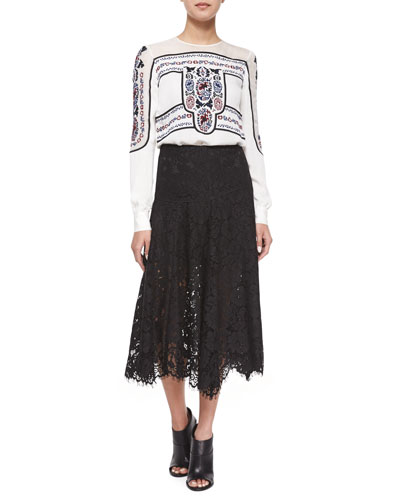 Warren Lace A-Line Skirt & Tobie Embroidered Blouse