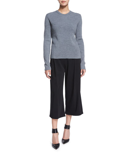 Gregg Crossover-Back Sweater & Beals Belted Gaucho Pants