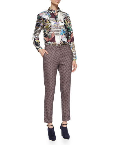 Floral & Animal-Print Boxy Blouse & Diamond-Print Cuffed Capri Pants