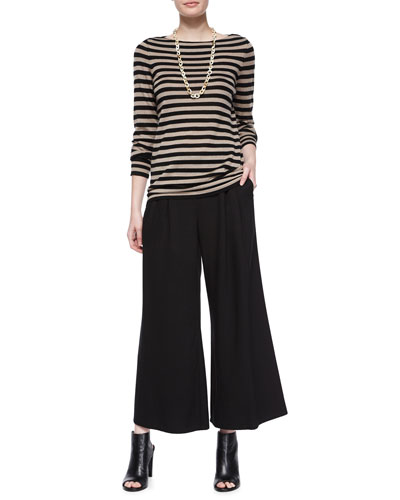 Striped Merino Wool Long-Sleeve Top & Wide-Leg Cropped Pants, Petite