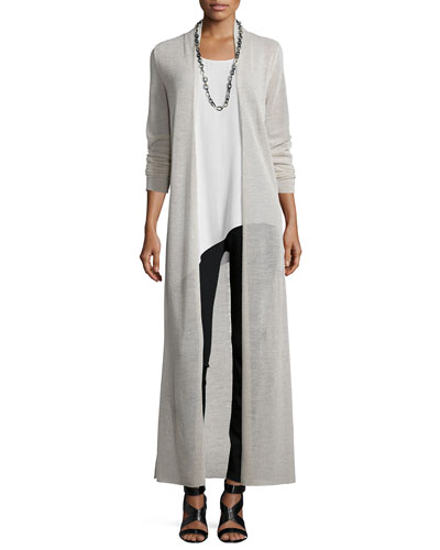 Washable Merino Wool Maxi Cardigan, Silk Asymmetric Draped Shell & Stretch Ponte Leggings