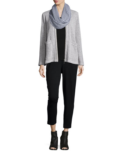 Twisted Two-Zip Short Jacket, Chevron Jacquard Infinity Scarf, Organic Cotton Slim Tank & Slim Slouchy Ankle Pants