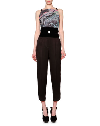 Chagall Beaded-Panel Crop Top & High-Waist Pleat-Front Pants