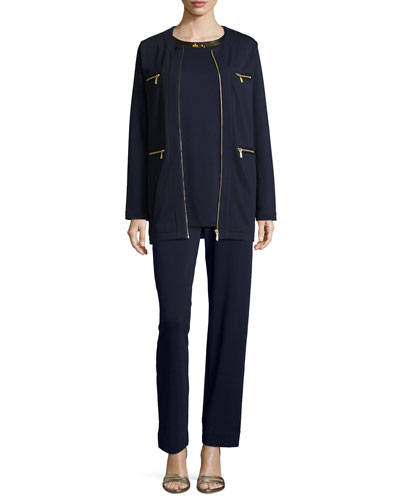 Joan Vass Four-Pocket Cotton Interlock Jacket, Sequined-Neck Long