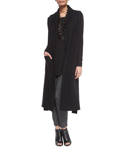 Boiled Wool/Cotton Long Kimono Vest, Silk Jersey Long-Sleeve Tunic & Cotton-Blend Slouchy Pants, Women