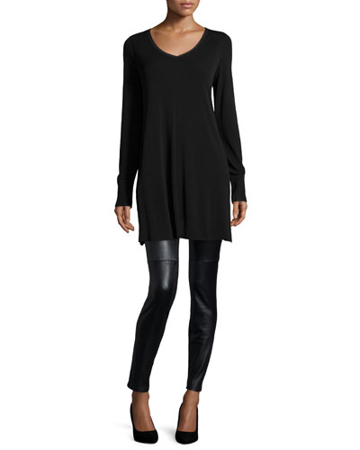 V-Neck Long-Sleeve Tunic & Ponte Leather-Blocked Leggings
