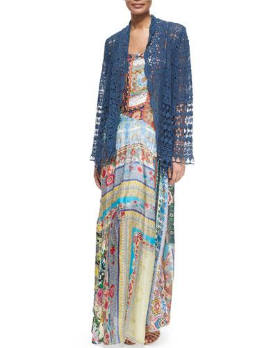 Short Crochet Jacket & Morelli Mix-Print Dress