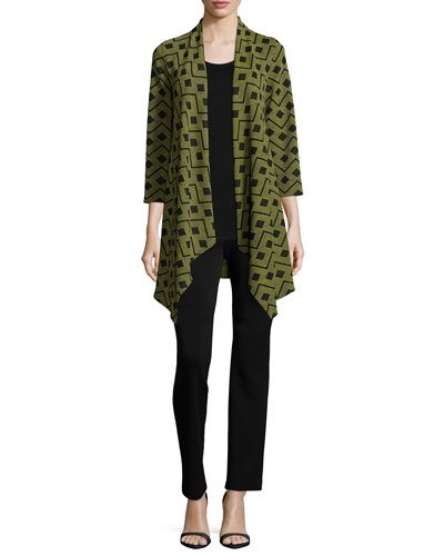 Dashing Diamond Jacket, Wool Knit Longer Tank & Flat Wool Slim Pants, Women