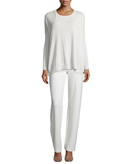 Joan Vass Long-Sleeve Wool-Cashmere Tunic