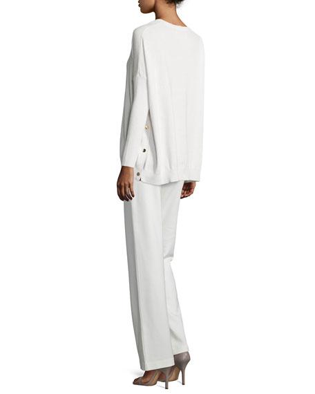 Long-Sleeve Wool-Cashmere Tunic, Plus Size
