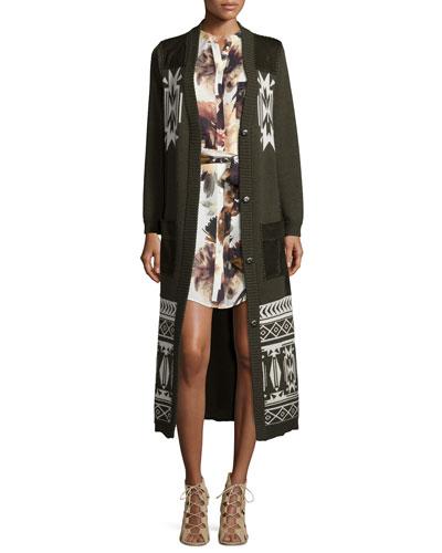 Jacquard Long Coat w/Suede Pockets & Floral-Print Silk Shirtdress