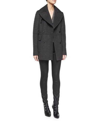 Quilted-Shoulder Cashmere-Blend Coat, Studded Tie Tunic/Blouse & Coated Stretch Denim Jeans
