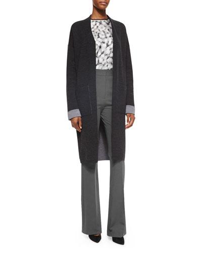 Armelle Evian Stretch Cardigan, Eri Floral-Print Silk Top & Garetto Fixture Ponte Pants