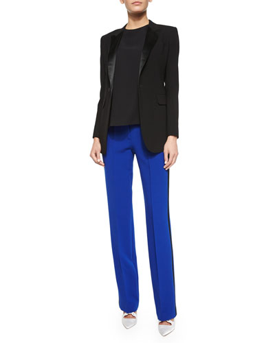 Long-Sleeve Tuxedo Blazer, Short-Sleeve Back-Pleat Shirt & Straight-Leg Tuxedo Pants w/Chain Detail