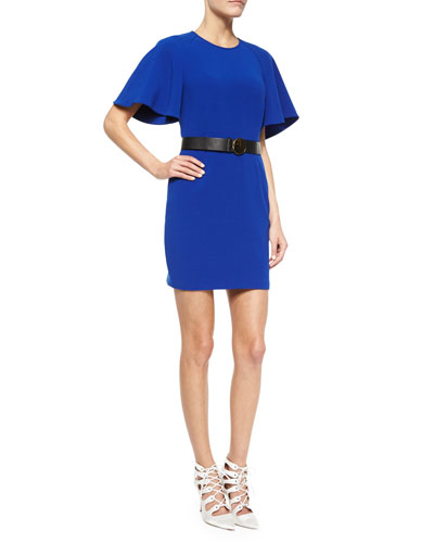 Flutter-Sleeve Crepe Mini Dress & Golden Disc-Buckle Belt