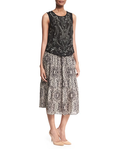 Paisley Embellished Silk Tank & Printed Silk Midi Skirt
