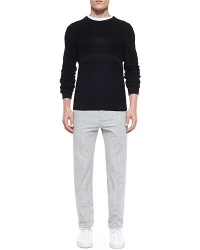 Multi-Stitch Crewneck Sweater & Pleated Track Trousers