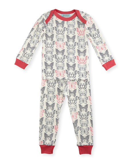 Bedhead Butterfly Pajama Shirt & Pants, White/Black/Pink, Size