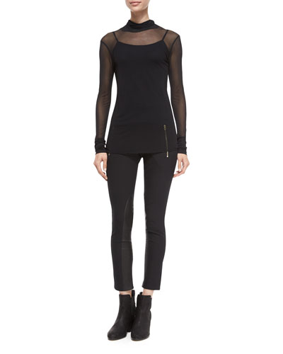 Ellen Double-Layer Turtleneck & Dino Zip Stretch Ankle Pants