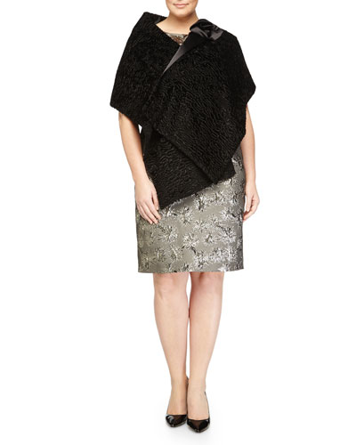 Foulard Ribbon Cape & Dublino Metallic Jacquard Dress, Women's