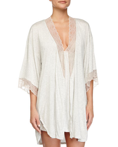 Lace-Trim Short Robe & T-Back Chemise