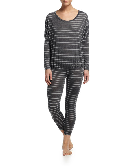 EberjeyTicking Stripes Slouchy Tee, Thunderstorm