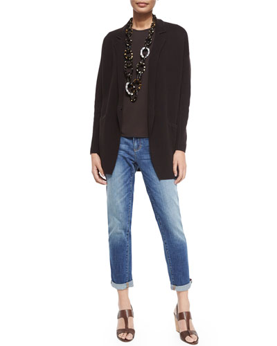 Notched-Collar Interlock One-Button Jacket, Long-Sleeve Silk Crewneck Tee & Stretch Boyfriend Jeans. Petite