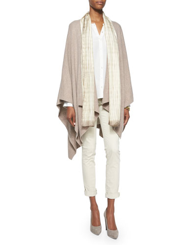 Cozy Luxe Wool Poncho Cardigan, Crepe de Chine Blouse, Silk Shibori Latitudes Scarf & Sueded Organic-Stretch Sateen Jeans
