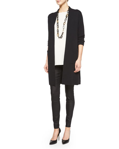 Washable Wool Crepe Long Cardigan, Sleeveless Silk Long Shell & Coated Stretch Denim Leggings