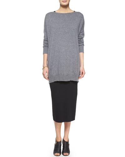 Fine Gauge Cashmere Tunic, Sleeveless Silk Long Shell & Washable Wool Midi Pencil Skirt, Women's