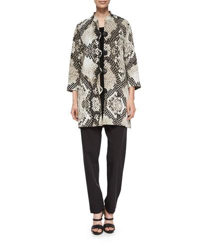 Caroline Rose Serpentine-Print Long Jacket, Knit Tunic/Tank &