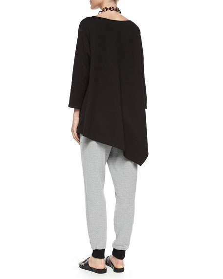 Solid Asymmetric Long Tunic, Petite