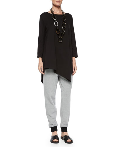 Solid Asymmetric Long Tunic & Two-Tone Jog Pants, Petite