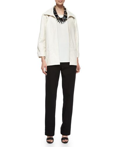 Caroline Rose Modern Faux-Leather Jacket, 3/4-Sleeve Stretch-Knit