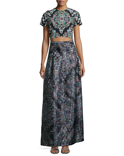 Resplendent Crystal-Print Crop Top & Ball Skirt
