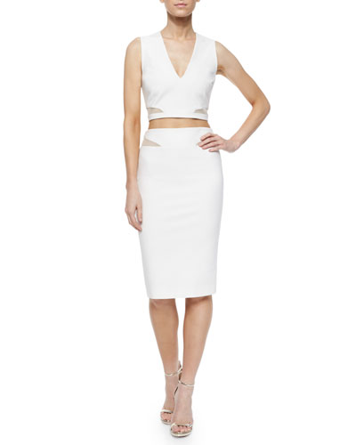 Otto Mesh-Trim Crop Top & Ponte Skirt
