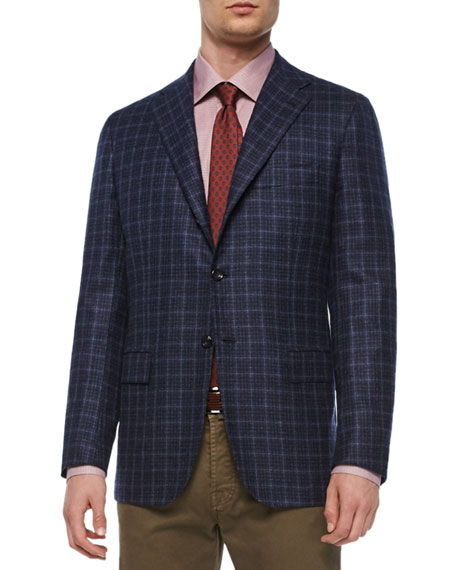 Kiton Check Three-Button Sport Coat, Navy/Gray