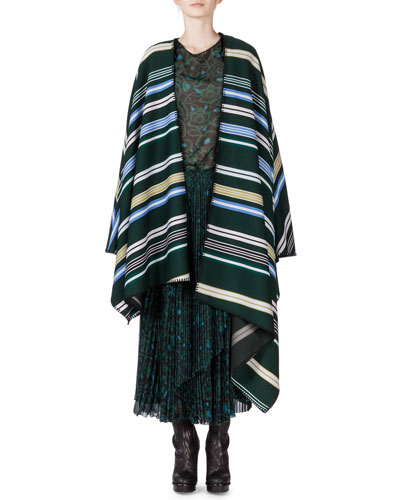 Striped Oversize Poncho, Shadow Flower Sheer Long-Sleeve Blouse & Pleated Skirt